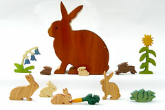 wooden rabbits and vegetables in cherry rabbit box