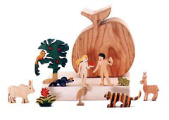 wooden apple box with adam and eve