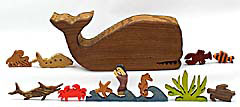 wooden whalebox with seacreatures