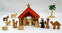 wooden nativity block set