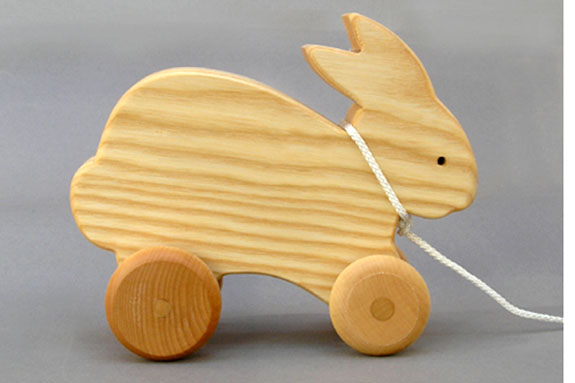 wooden hopping Rabbit Pull Toy made in America