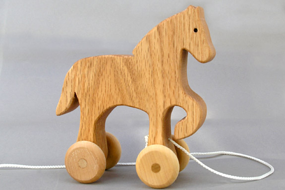 Traditional Wooden Horse Pull Toy Made In America