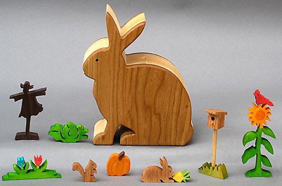 Bunny Garden With Wood Animal And Plant Figures Wooden