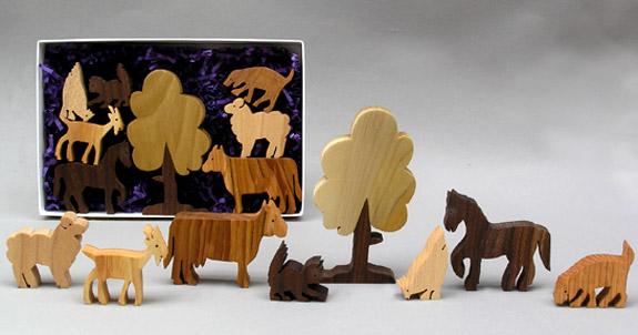 Wooden Garden Animals In A Rabbit Box Farm Animal Set